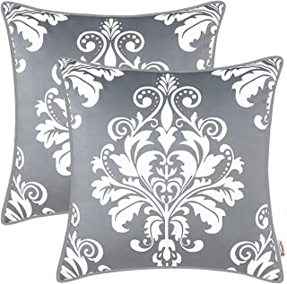 BRAWARM Pack of 2 Cozy Fleece Throw Pillow Covers Cases for Couch Sofa Bed Manual Hand Painted Vintage Solid Damask Floral with Piping 18 X 18 Inches Neutral Gray