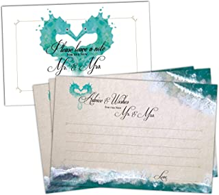 50 Beach Wedding Advice Cards - Well Wishes for Bride and Groom - Perfect for Guest Book Alternatives, Bridal Shower Games, Wedding Decorations for Reception, Marriage Advice for the Mr and Mrs