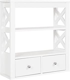 Spirich Home Modern X- Frame Bathroom Wall Cabinet with Two Drawers, Bathroom Shelf Over The Toilet Wall Mounted, White