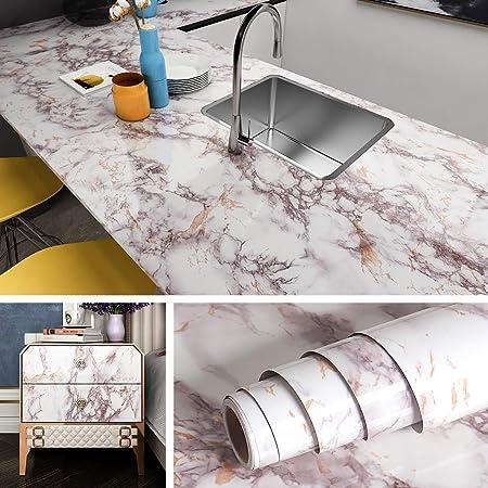 Homye parete cucina per mobili impermeabile armadio 60 x 500 cm Pellicola adesiva in marmo per piano di lavoro in PVC colore: bianco finestra decorativa autoadesiva