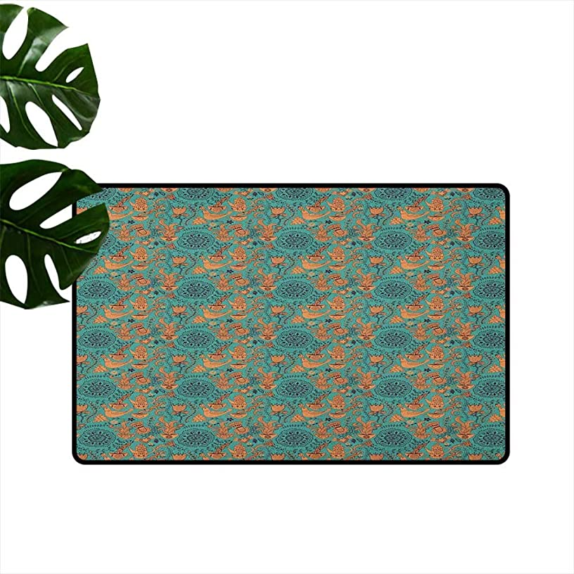 RenteriaDecor Vintage,Heavy Duty Doormat Nature Scroll Art Pattern with Birds Flowers Teapot and Cups 16