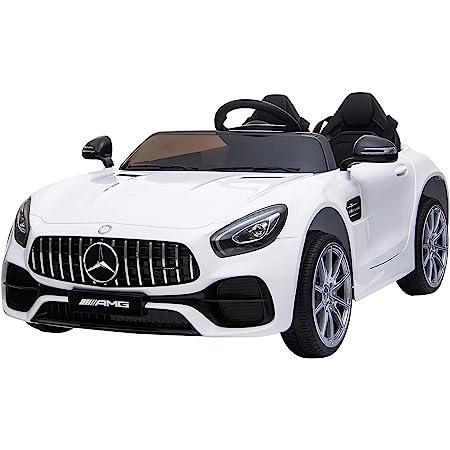 homcom Macchina Elettrica per Bambini con Licenza Ufficiale Mercedes-Benz Luci e Fanali Funzionanti Lettore di Musica MP3