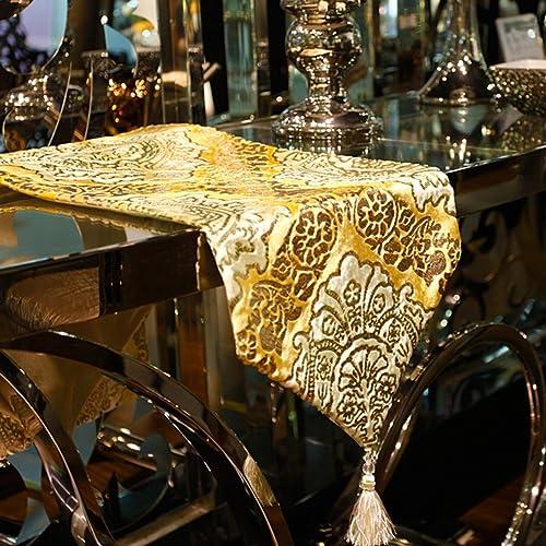 QiangZi Tischl er Tischdecke Büro Küche Esszimmer Hochzeit Wohnkultur Tischset Tischdecke Silber Blaumenmuster Stückerei Stoff Gelb Quaste (30  200cm  ) ( Größe   3025cm )