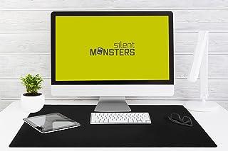 Silent Monsters Tappetino Mouse XXL (90 x 60 cm), Grande, Disegno Nero con Bordo Cucito, per Ufficio Mouse e Gaming Mouse
