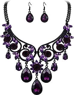 Women's Tribal Ethnic Crystal Chunky Statement Necklace Dangle Earrings Set