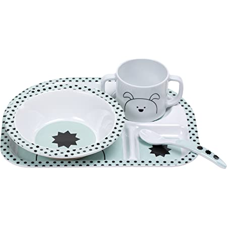 L/ÄSSIG Kindergeschirr Set mit Teller Schale L/öffel und Becher//Dish Set About Friends Racoon