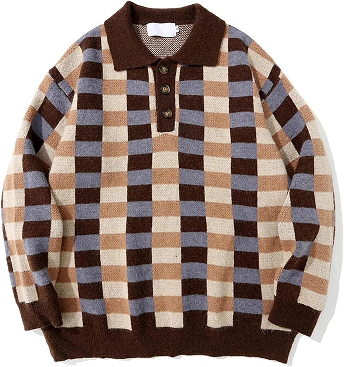 Men Sweater Streetwear Autumn Winter Casual Pullover Tops Hip Hop Plaid Lapel Sweater