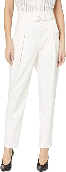 Belted Pleat Front Ankle Pants