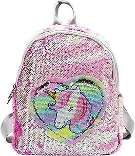 Shiny Glitter Magic Reversible Flip Sequin Unicorn Backpack Travel Daypack with 2 Pattern for Women Kids Girls