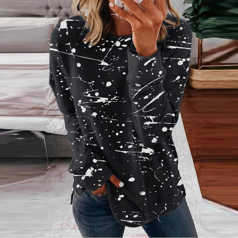 POLLYANNA KEONG Womens Long Sleeve Tops,Women's Casual Striped Printed Crewneck Blouse Long Sleeve Loose Pullover Sweatshirt Black