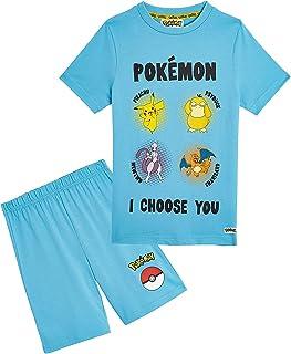 Pokèmon Pijama Niño, Pijamas Niños Cortos Conjunto 2 Piezas, Camiseta Personaje Pikachu, Ropa Niño de Dormir, Regalos Niño...