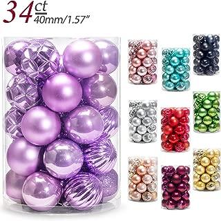 AMS Christmas Ball Ornaments Exquisite Colorful Balls Decorations Pendant Pack of 34pcs (40mm, Light Purple)
