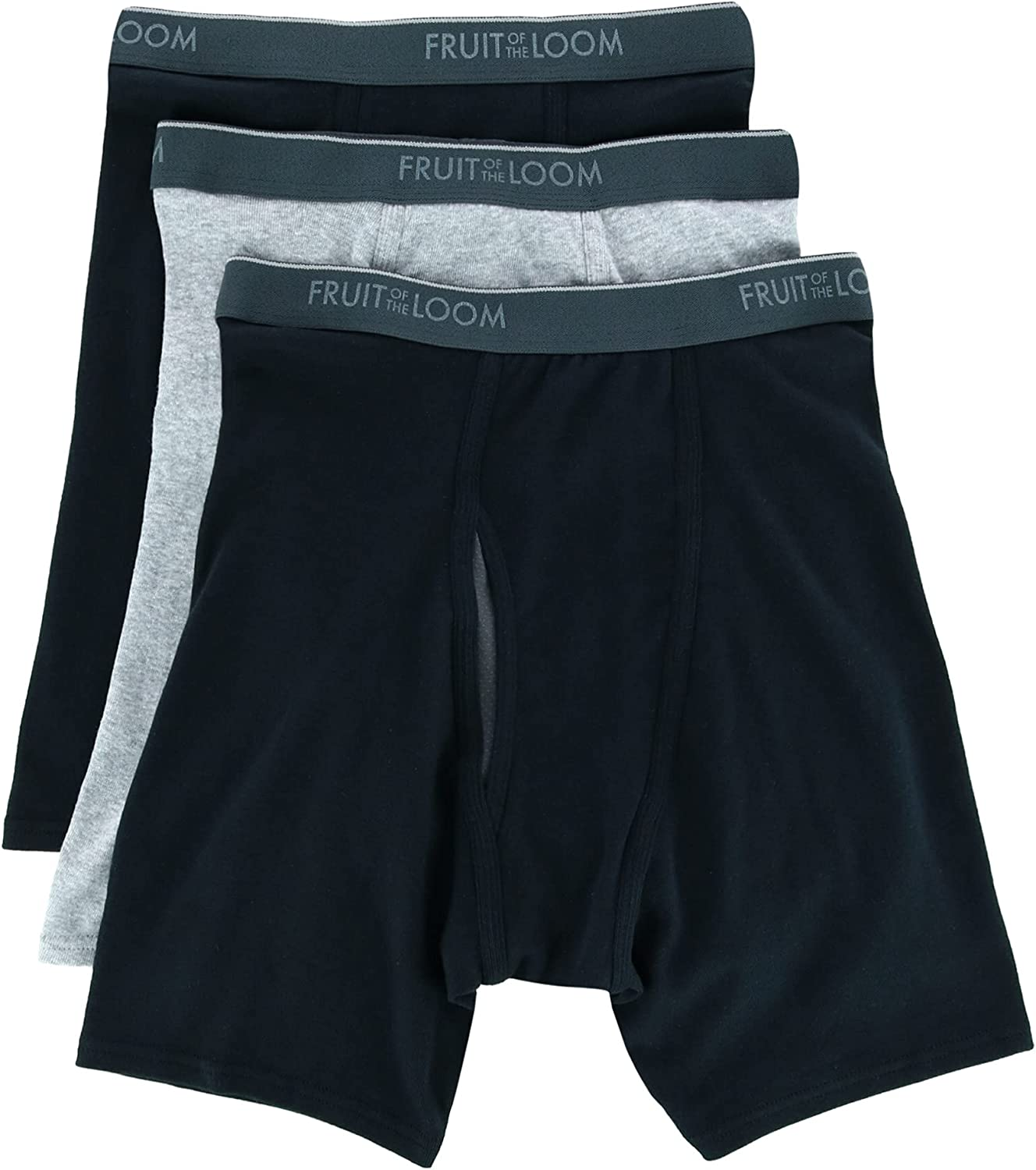 Fruit of the Loom Men's Coolzone Fly Black/Grey Boxer Brief - 3 Pack