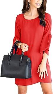 Floralmia Women's Bell Sleeve Shift Dress Ruffle Tunic Dress Round Neck Loose Swing Mini Dresses
