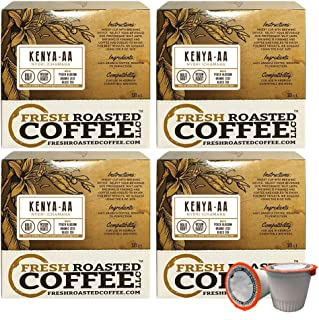 Fresh Roasted Coffee LLC, Kenya AA Nyeri Ichamara Coffee Pods, Medium Dark Roast, Single Origin, Capsules Compatible with 1.0 & 2.0 Single-Serve Brewers, 72 Count