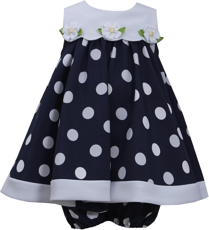Bonnie Jean Girls Nautical Daisy Polka Dot Easter Dress, Navy, 0-3m - 24m