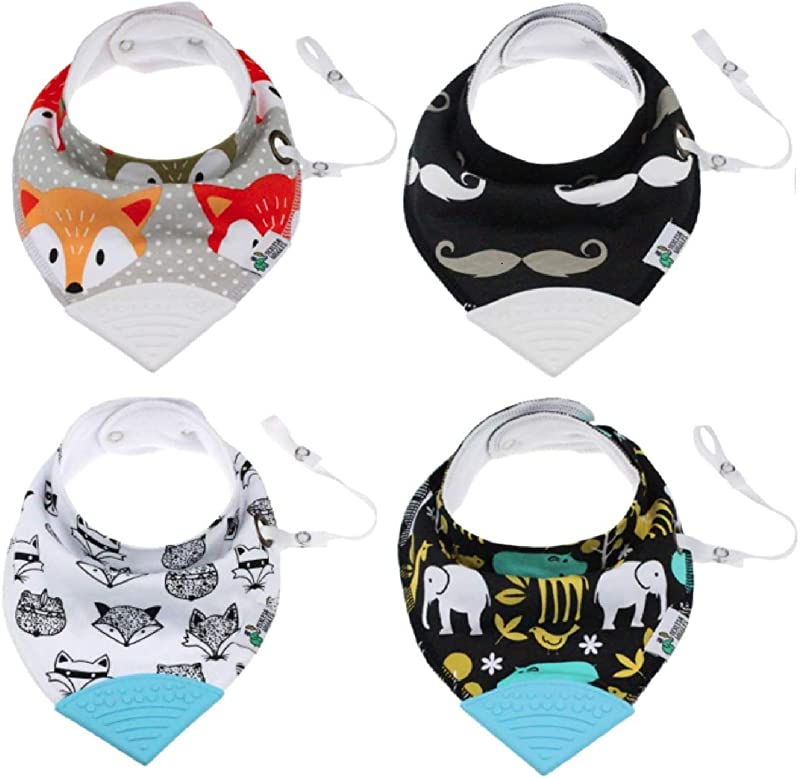 Tickles Wiggles Organic Baby Bandana Bibs For Teething Drooling Infant Teether Adjustable Snaps Pacifier Toy Tether
