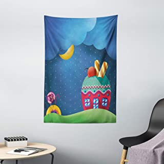 Cartoon Tapestry, Fantasy Style Cupcake House with Candies Lollipops Clouds and Sun Sweet Landscape, Wall Hanging for Bedr...