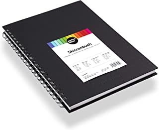 perfect ideaz carnet de croquis de 96 pages (48 feuilles) DIN A4, carnet de dessin professionnel, livre à spirales avec pa...