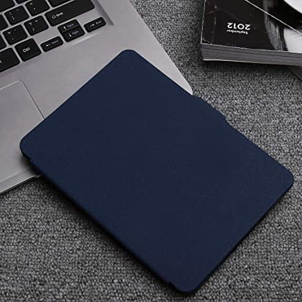 Naisedier Kindle Paperwhite Leather Case Stand Holder Cover Leather Bracket Case for Office Work Tablet/e-Book Cover Navy Blue