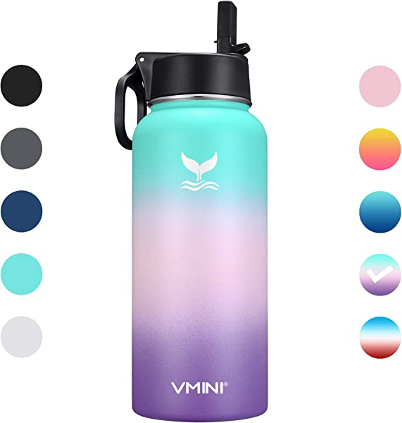 Vmini Water Bottle Wide Mouth And Standrad Mouth 18 8 Stainless Steel Double Wall Vacuum Insulated New Straw Lid With Wide Handle