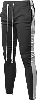 Style by William Men's Casual Side Panel Long Length Drawstring Ankle Zipper Track Pants