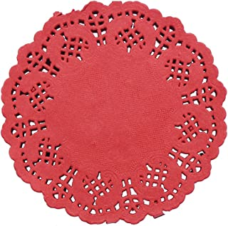 DECORA 3.5inch Round Red Lace Paper Doilies for Wedding Tableware Decoration, 100-Pack