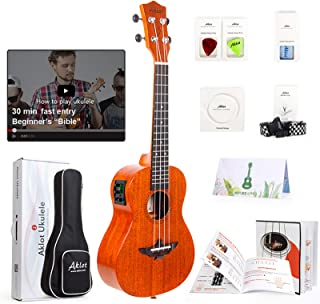 Electric Acoustic Concert Ukulele Uke Ukele Solid Mahogany Ukelele For Beginners With Free Online Lesson 8 Packs Uke Acces...