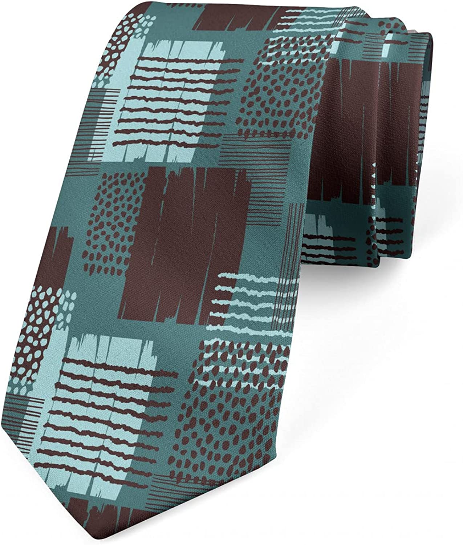 Ambesonne Necktie, Dot Stripes Grunge Squares, 3.7