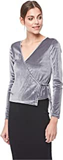 Bershka Wrap Tops For Women, Grey, M