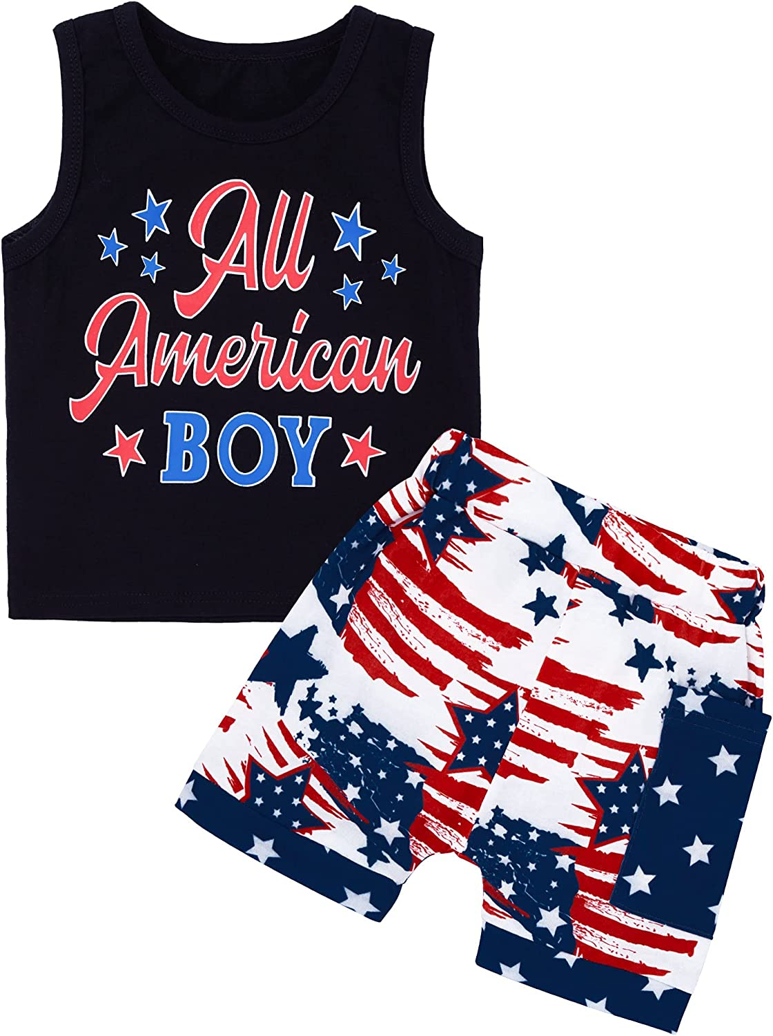 Toddler Boy Clothes Summer Outfits, Baby Boy Clothes Sets with Short Sleeve + Short Pants 2Pcs Set