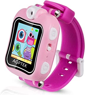 AGPTEK Kid Smartwatch, Smart Watch with 90 Degree Rotating Camera, Alarm Clock,Video Recording, Game, Stopwatch, Pink for Girls Boys