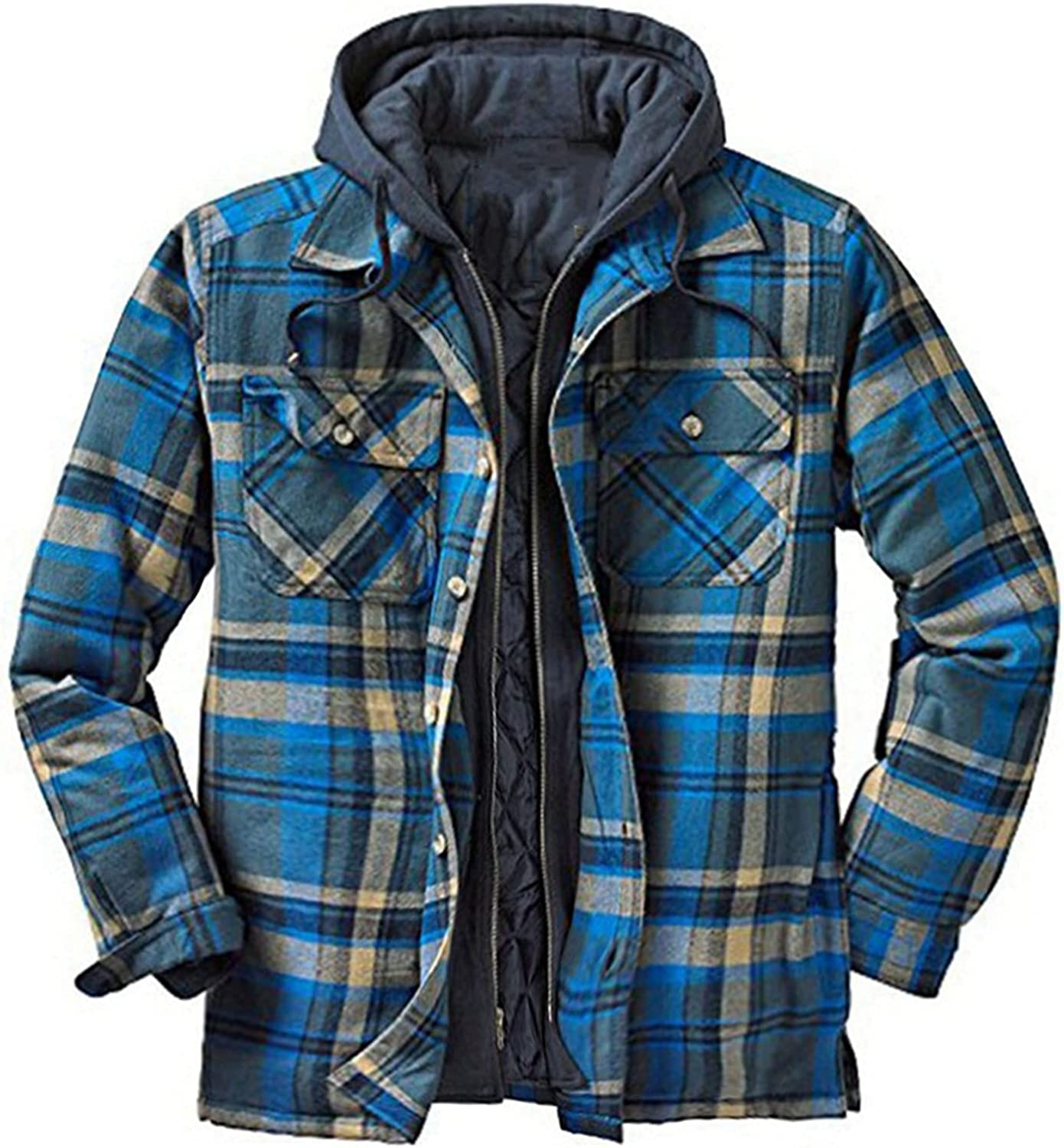 Men's Plaid Stamp Jackets,Long Sleeved Warm Lined Plush Thicken Shirt V52
