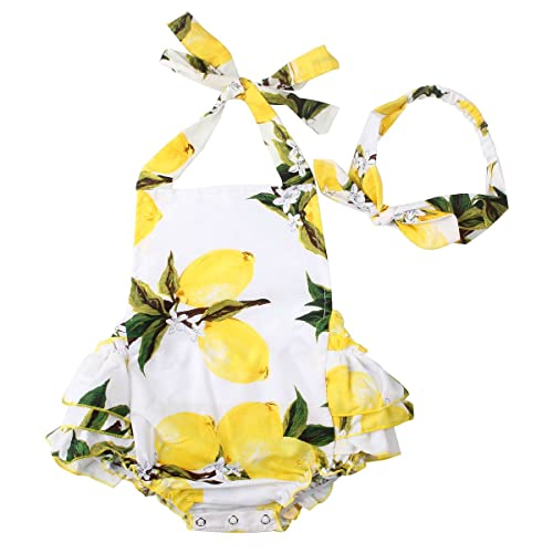 c856aceb Baby Girls 2pcs Sets Cotton Ruffles Romper Outfits Clothes