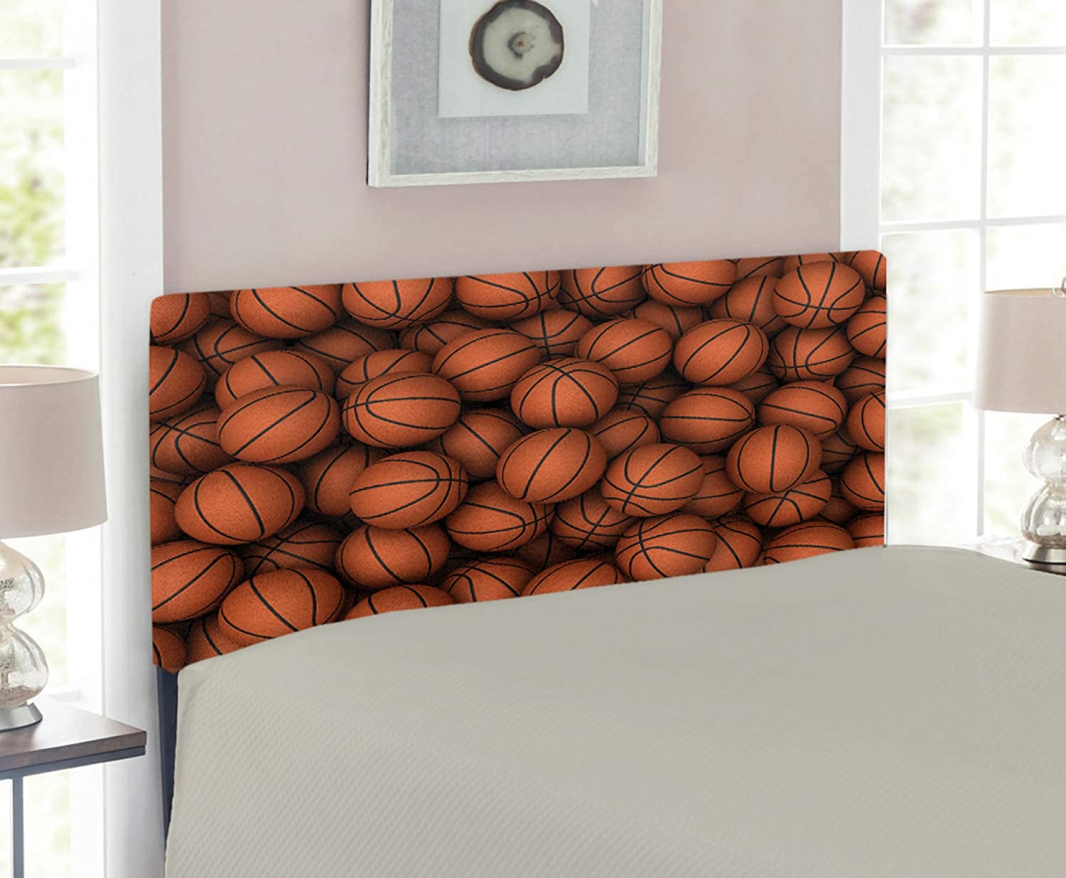 Lunarable Sports Headboard for Twin Size Bed, Basketballs The Two Handed Slam Practice Athletic Sport Events Illustration, Upholstered Decorative Metal Headboard with Memory Foam, Dark orange Black