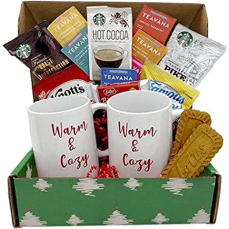 Holiday Coffee Gift Basket - 2 Coffee Mugs, Coffee, Teas, Hot Cocoa & Cookies - Morning Gift Box - Coffee Lovers Gift Box