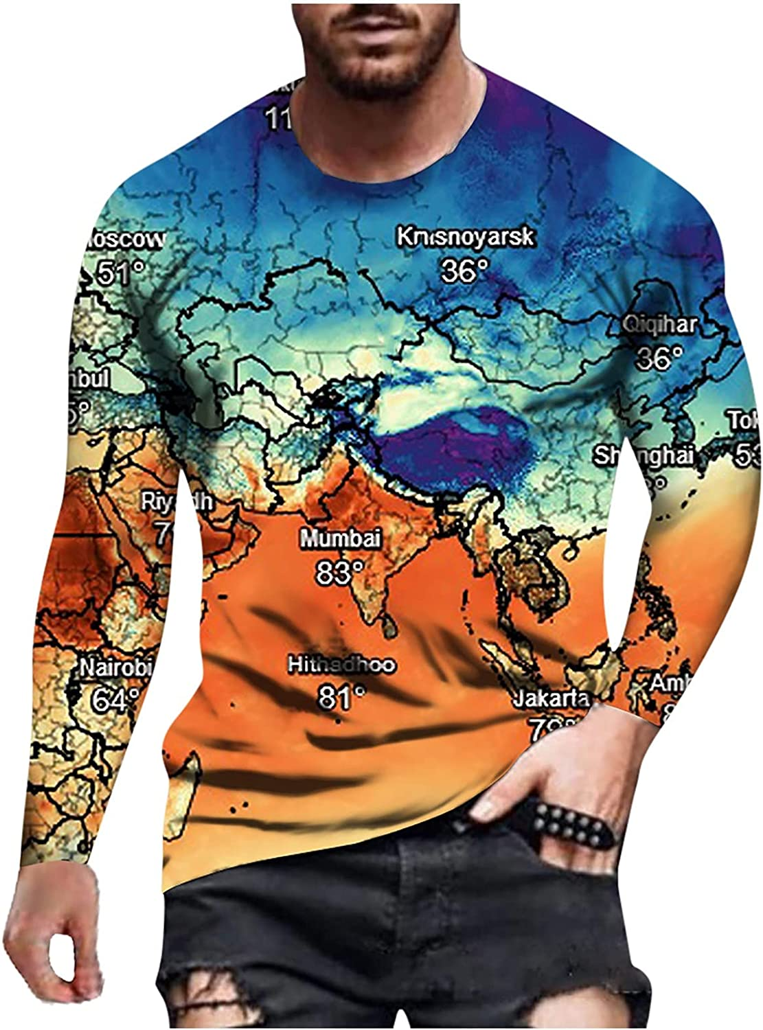 Huangse Fashion Long Sleeve for Men Panttern Print T-Shirt Retro Blouse Muscle Workout Athletics Tee Tops