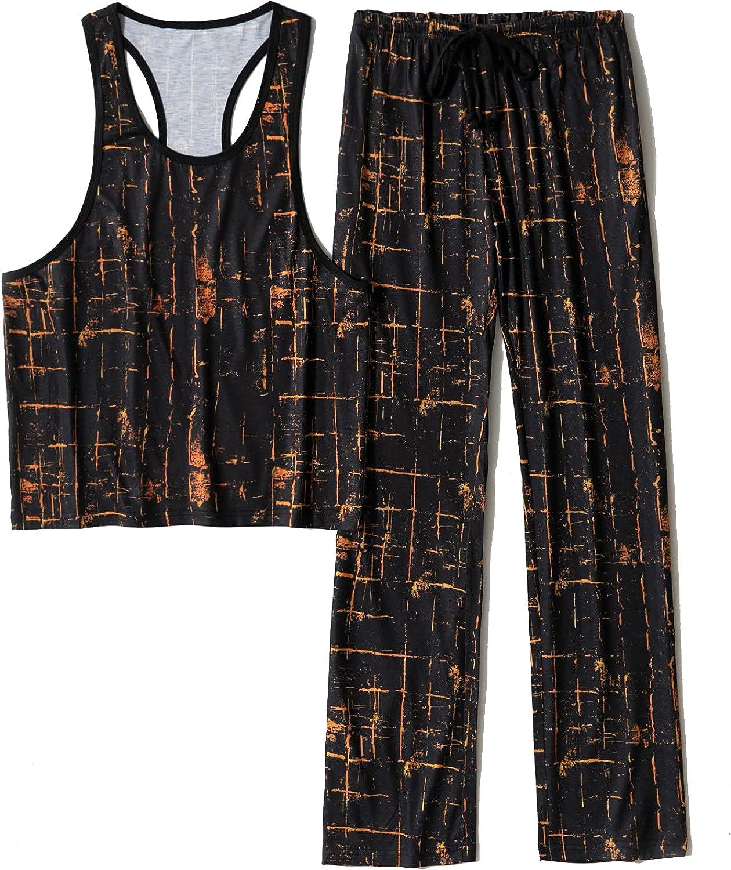 GERINLY Men's Raceback Pajama Set with Long Pants Classic Print Loungewear for Summer Soft Night Sleepwear