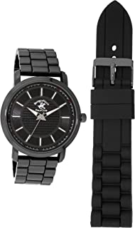 Beverly Hills Polo Club Gunmetal Men's Quatz Movement Watch - Dual Strap Gift Pack - Metal and Silicone Strap Included