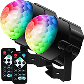 BAISUN Disco Ball Party Lights RGB Disco Lights Ocean Light Projector with Remote Control Strobe Light for Dance Parties Birthday DJ Wedding Show Kids Room (2 pack)