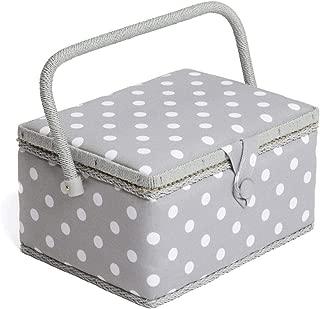HobbyGift MRM/137   Medium Sewing Basket Grey Spot Design