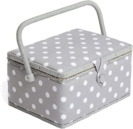 Colorful Dot Fabric Craft Handmade Sewing Box Storage Box Sewing Basket 24x17.5x13cm with Handle Green