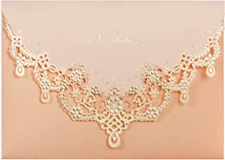 WISHMADE Vintage Laser Cut Wedding Invitation Set with Peach Necklace Personalized Invitation Pocket Fold Design and Envelopes for Wedding Invite (1pcs)