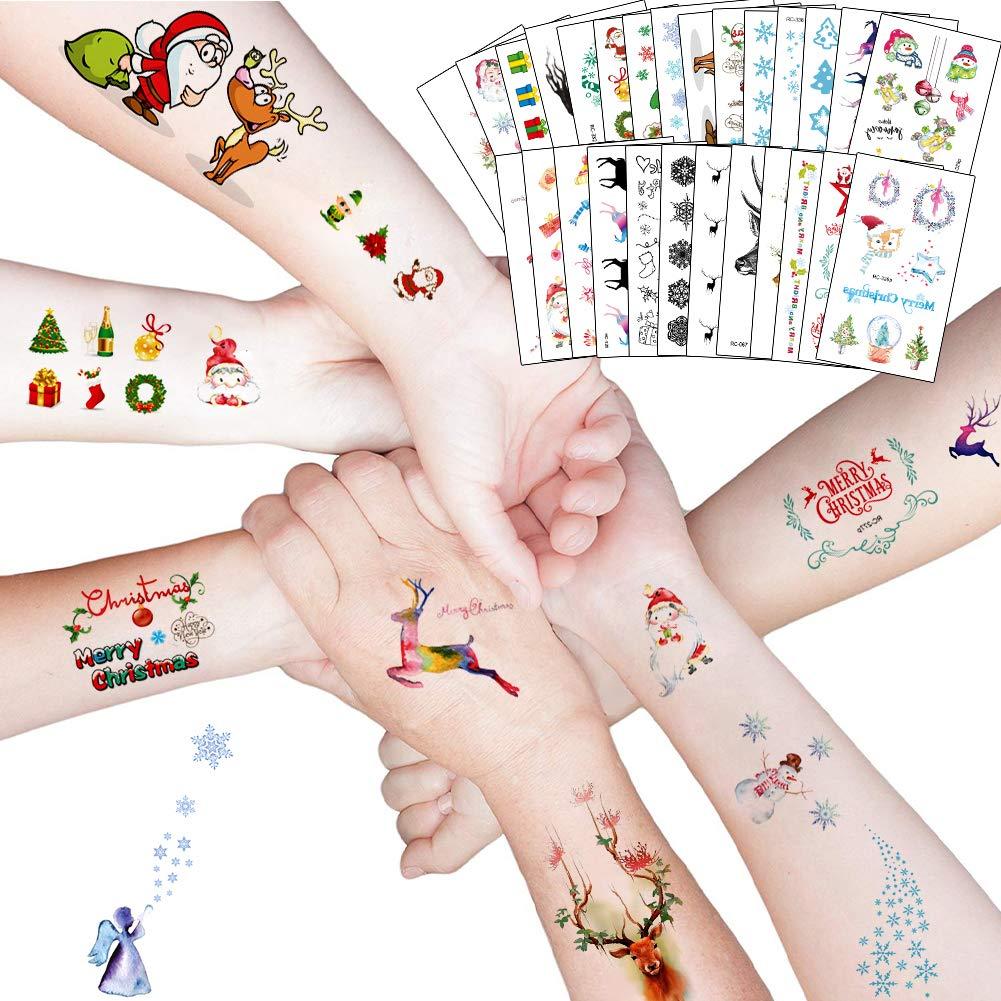 Sale item Christmas Free shipping on posting reviews Temporary Tattoos Snowflake Reind Santa Claus Snowman