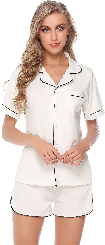 Aibrou Sexy Pajamas for Women Short Sets Lace Satin Lingerie Sleepwear Set