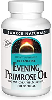 Source Naturals Evening Primrose Oil - Hexane-Free - 500mg - GLA Yield: 50 mg - Cold-Pressed - 180 Softgels