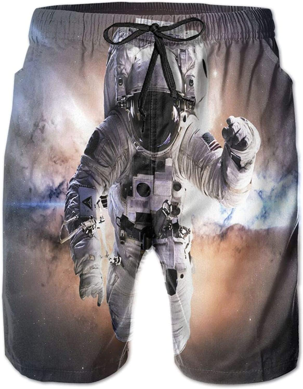 Floating Astronaut in Space Nebula Heavenly Bodies Star Systems Love Science Drawstring Waist Beach Shorts for Men Swim Trucks Board Shorts with Mesh Lining,L