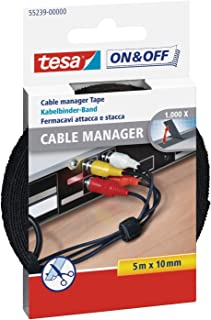Tesa® On & Off Cable Manager Universal klittenband, zwart, 5 m x 10 mm, Einzeln, 1