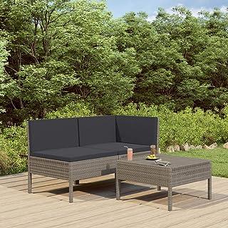 Juego de sofás de jardín de poliratán, ratán de polietileno, acero barnizado con polvo, 1 sofá central + 1 sofá esquinero + 1 mesa de salón + 2 cojines para el asiento + 3 cojines para el respaldo