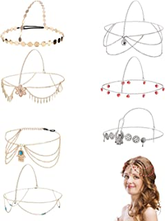 8 Pieces Gold Head Chain Jewelry Boho Headband Head Chain Coins Pearl Tassel Chain Hair Band Festival Prom Wedding Headpiece for Women and Girls (Style B)